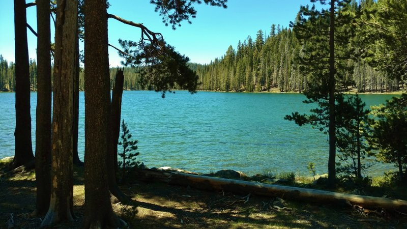 Lower Twin Lake is passed by the PCT in Lassen Volcanic National Park.
