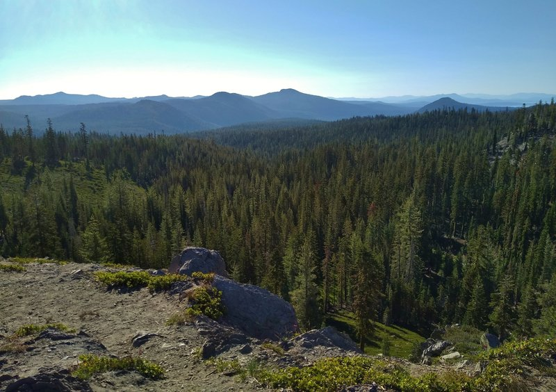 The Kings Creek Valley is below and mountains stretch forever into the distance including Mt. Hoffman, 7,833 ft., (center right). Juniper Lake is in the distance at the extreme right. Looking east from high on Kings Creek Trail.