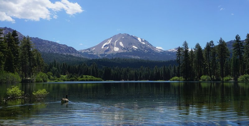 The iconic view of Lassen Peak from Manzanita Lake's north end.