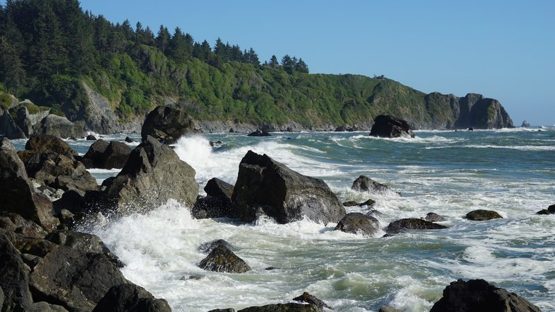 Waves crashing on the rocks below the aptly named Rocky Point.