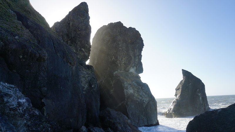 A sunbeam peeking through rocks north of Wedding Rock.