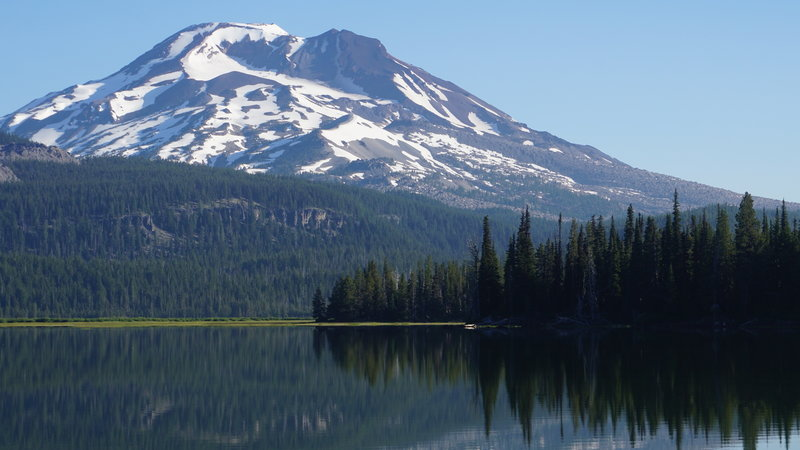 The majesty of South Sister along the paved trail at Sparks Lake.