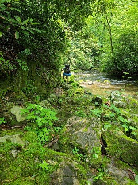 Rock hopping on the Deep Creek Trail.