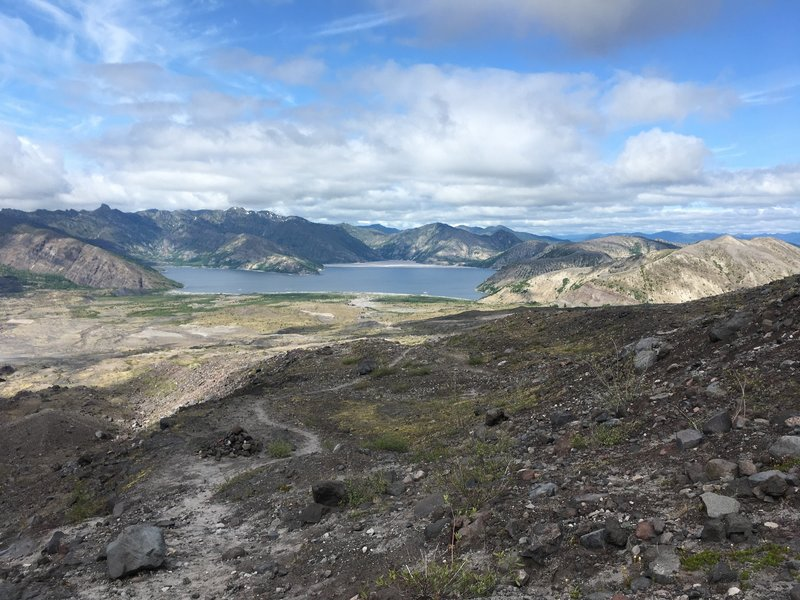 View down toward Spirit Lake