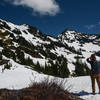 The route to Goat Mountain can be snow covered into July.
