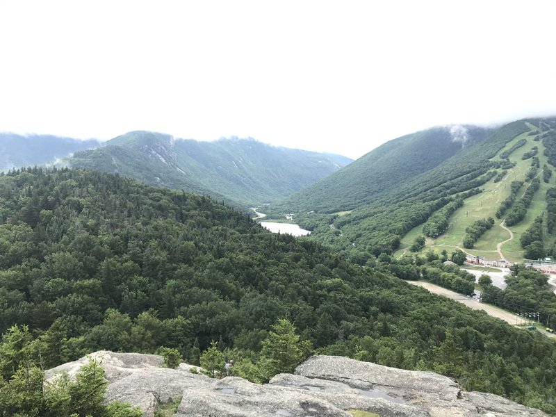 Cannon Mountain, Echo Lake, and Franconia Notch from the top of Bald Mountain.