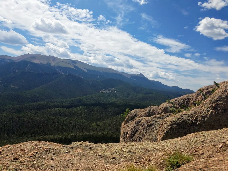 View of Pikes Peak from atop of Raspberry Mountain.