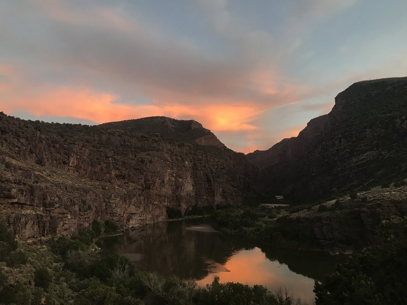 View into the canyon from the end of the Gates of Lodore Trail at sunset.