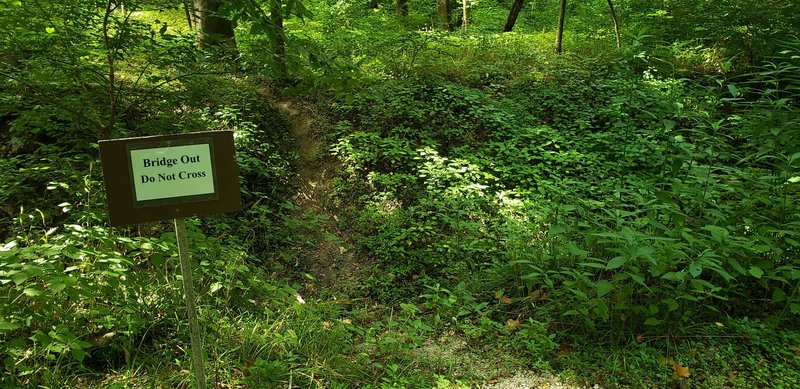 As soon as they put up the sign, I felt I had to cross the ravine which is much deeper than it appears in the photo.