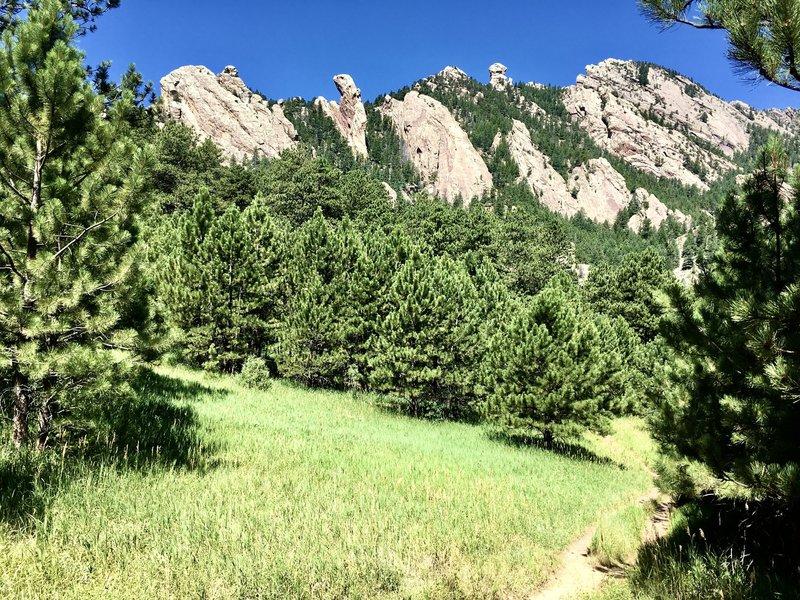 Looking toward flatirons from Mesa Trail.