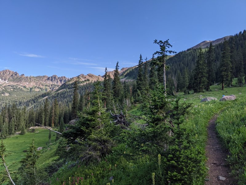 Incredible views and wildflowers around mile 6.5-7, as you're heading out of treeline!!  Big climb but well worth it!