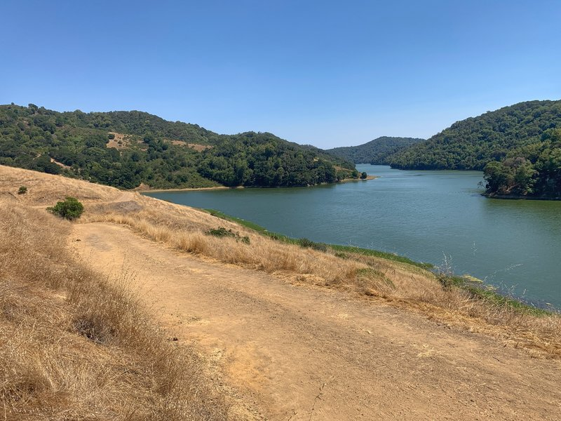 Looking south at the San Leandro Reservoir from the King Canyon Loop Trail.