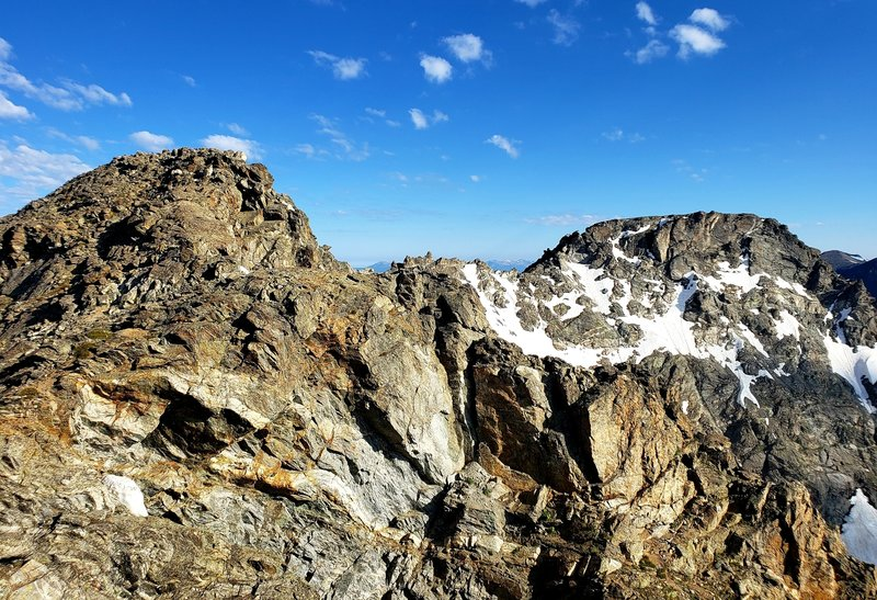 A view of the ridge line traverse from South Arapaho Peak. The North Peak is the big flat section on the right hand side of the photo