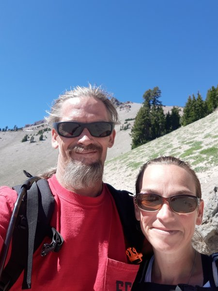 My fiance and are climbing lassen. We are about a mile from the peak.