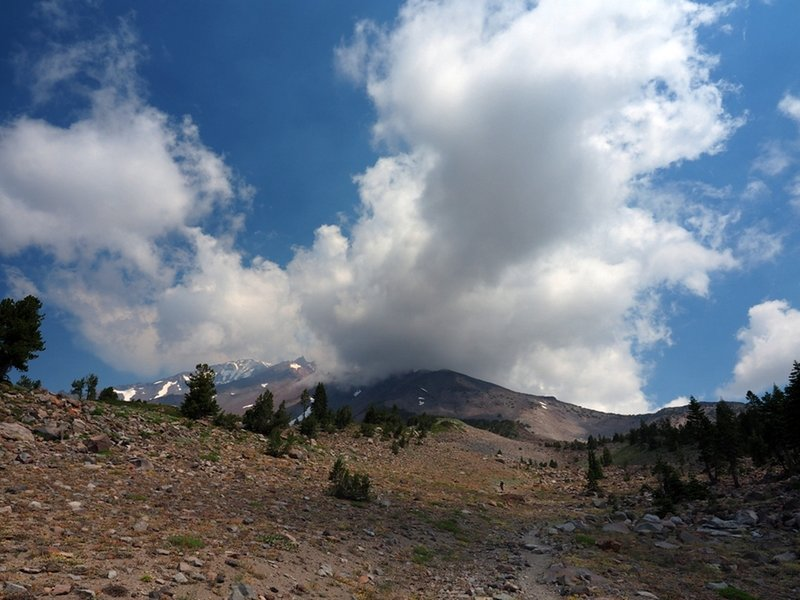 A storm builds over Mount Shasta.