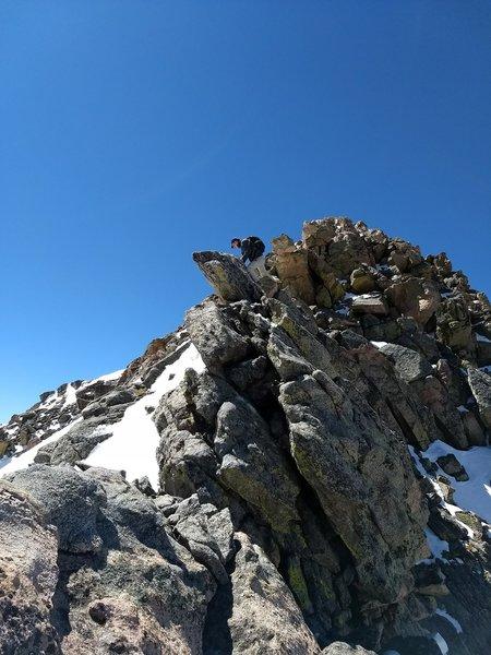 Descending Mt. Bierstadt onto the Sawtooth.