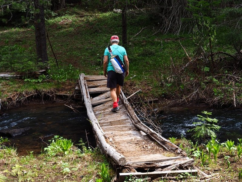 Crossing a tributary of Beaver Dam Creek north of Daley Campground.