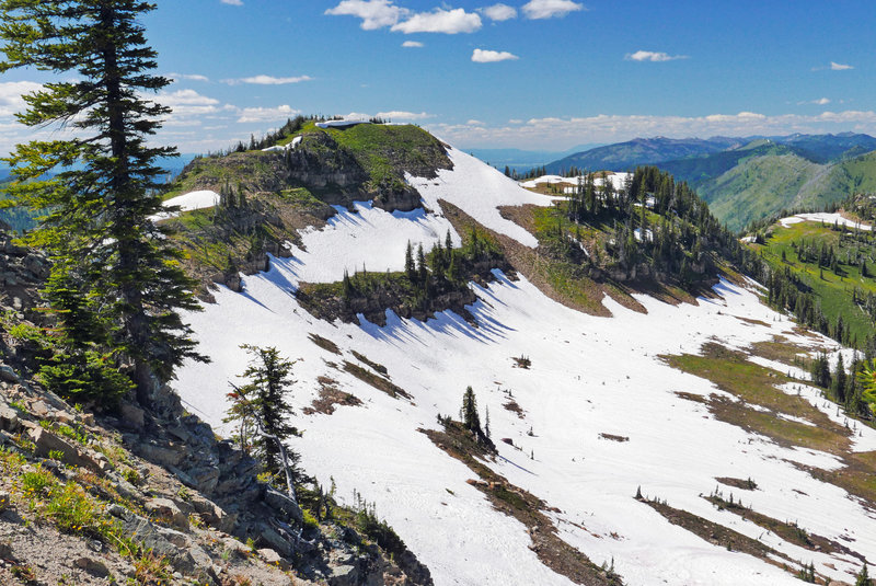 view from Warrior Mtn of snowfield covering trail (July 2020)