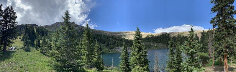 Pano of Boulder Lake at trail end