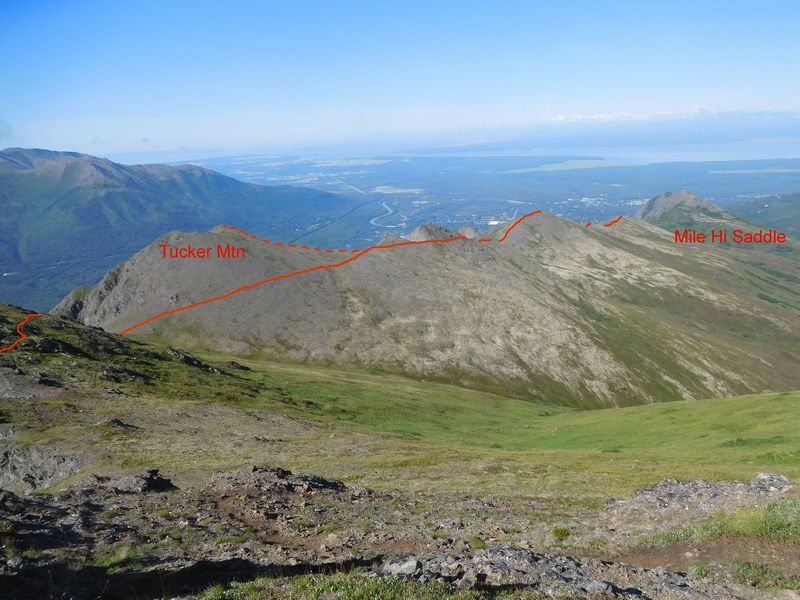 View west from flank of Mt. Magnificent of route of trail along the ridge east from Mile Hi Saddle.