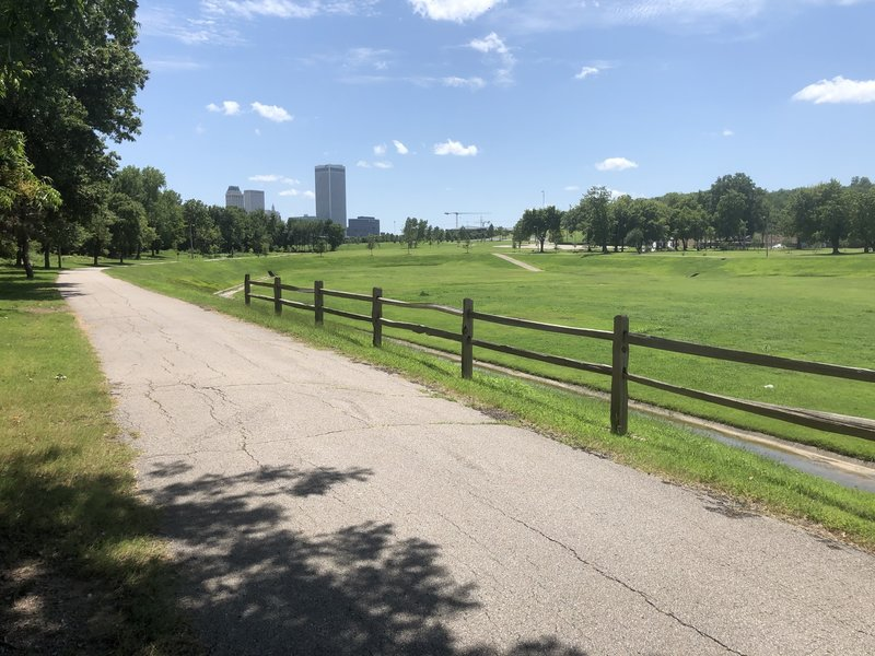 View of downtown Tulsa from the Osage Prairie Trail.