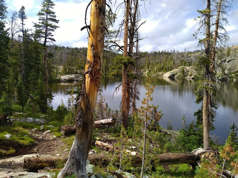 Tiny Edmond Lake is set in a rocky, thinly wooded area along Highline Trail.