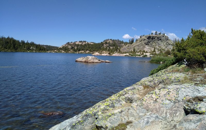 """The northern Chain Lake, from a """"lunch"""" rock along Highline Trail, next to the lake."""