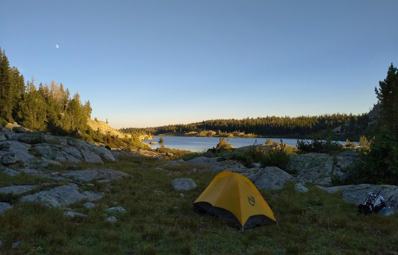 The north end of the northern Chain Lake, is a great place to spend the night.