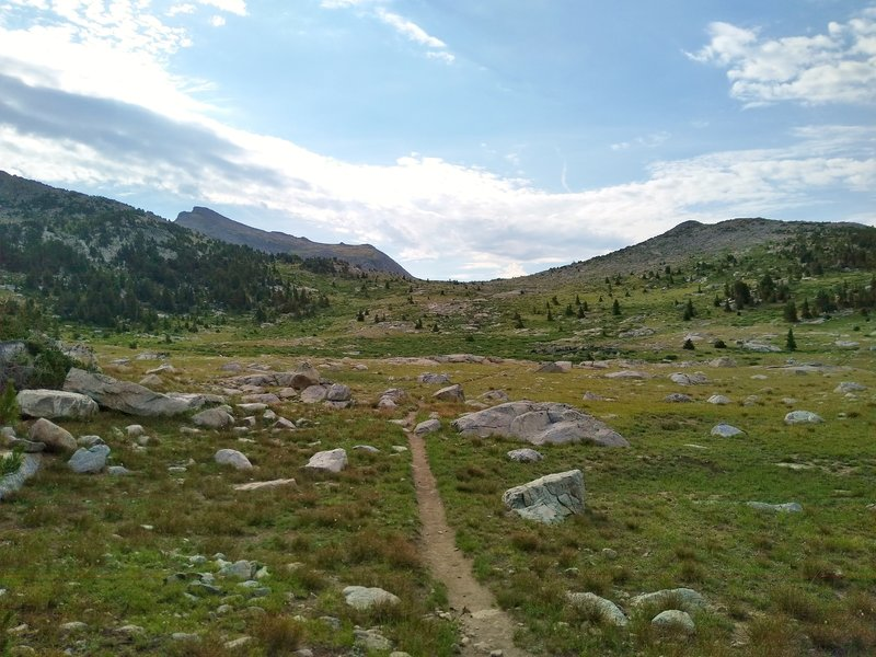 In the alpine, approaching Hat Pass, 10,850+ feet, from the north on the CDT/Fremont Trail.