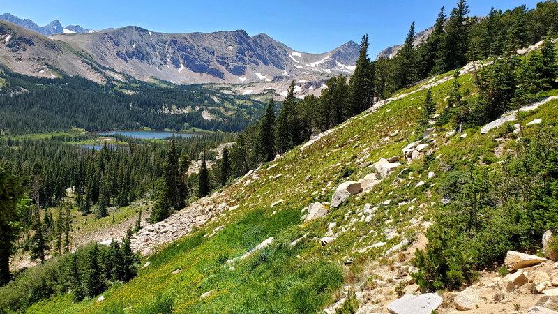 View of Mitchell Lake on the way up Mt Audubon.