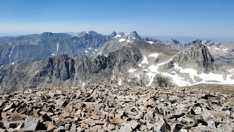 View of the Indian Peaks Wilderness from the summit of Mt Audubon