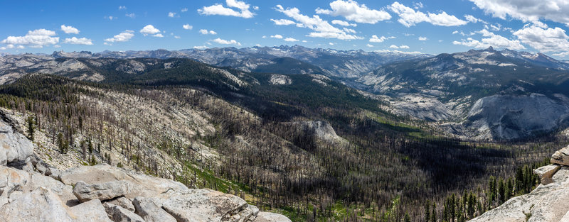 View east from Clouds Rest towards the Merced River and Bunnell Point