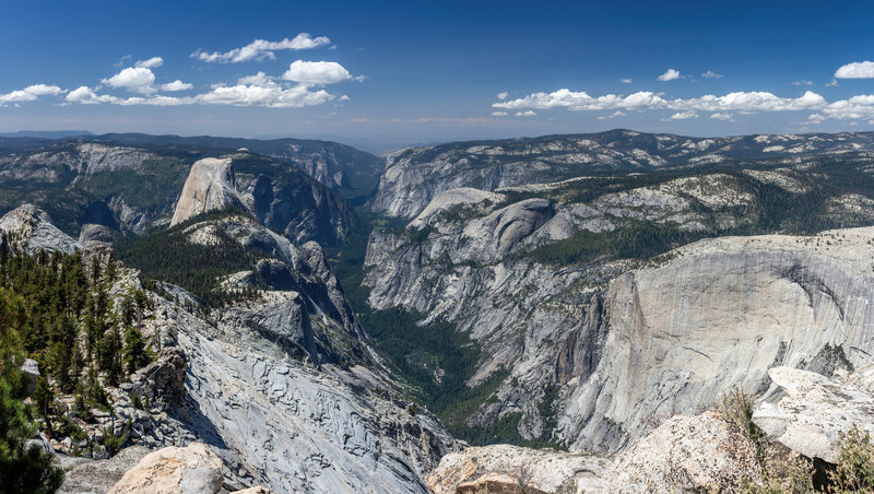 Half Dome and the inverse tunnel view through Yosemite Valley