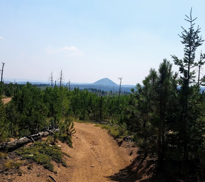 View of Signal Butte from Turkey Creek Trail. Hazy from wildfires.