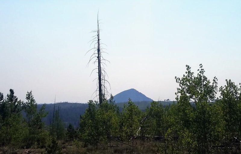 Signal Butte through the haze of wildfire.