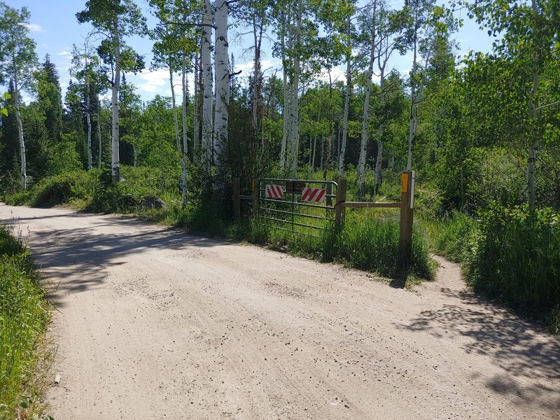 Trail entrance at open gate to Dry Lake Campground