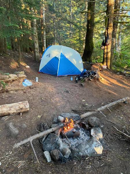 One of the first campsites at Barclay Lake