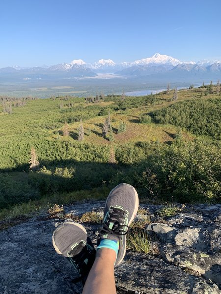 This is the view from the big rock outlook at the top of the trail of Denali.