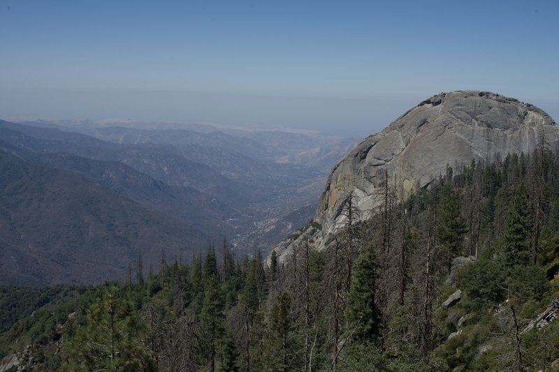 Views of Moro Rock and the foothills below from Bobcat Point.