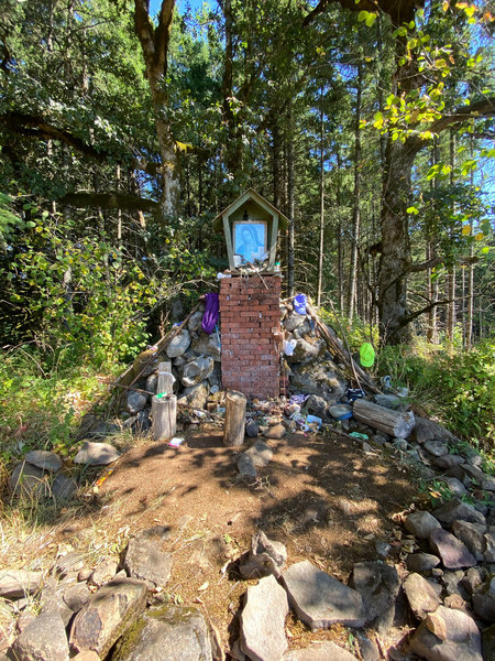 The strange little shrine to Our Lady of Guadalupe at the top of the trail.