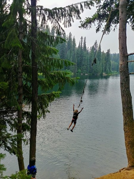 Just off the path down a steep little hill is a rope swing for the fearless.