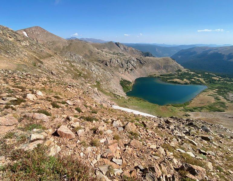Looking down at Heart Lake