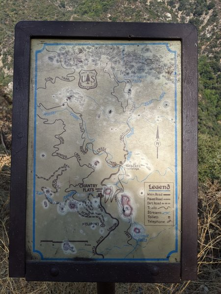 Trail map posted at initial descent from parking area. Note that pit toilet at Roberts Camp junction is no longer there (as of Sept. 2020).