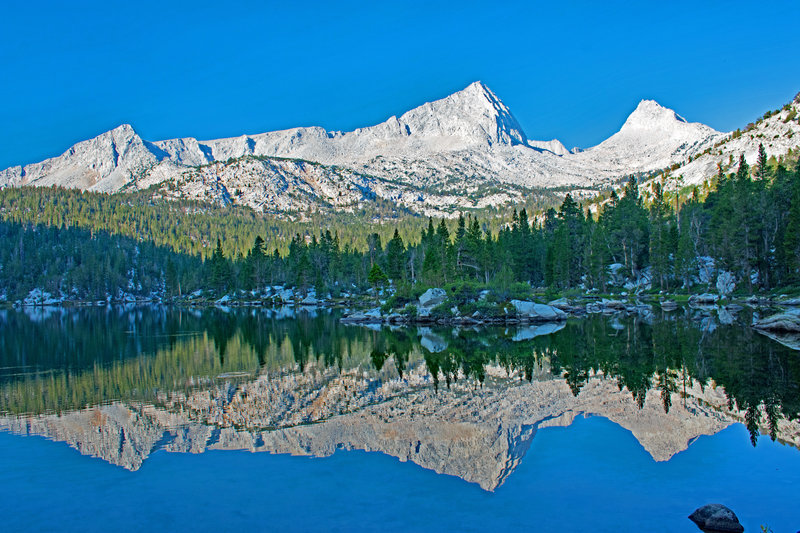 Upper Pine Lake. It is possible to hike off-trail from Royce Lakes down the gap between the two peaks on the right.