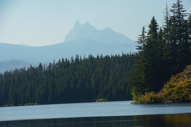 An idea of the view of Three Fingered Jack over Marion Lake but obstructed by smoke.