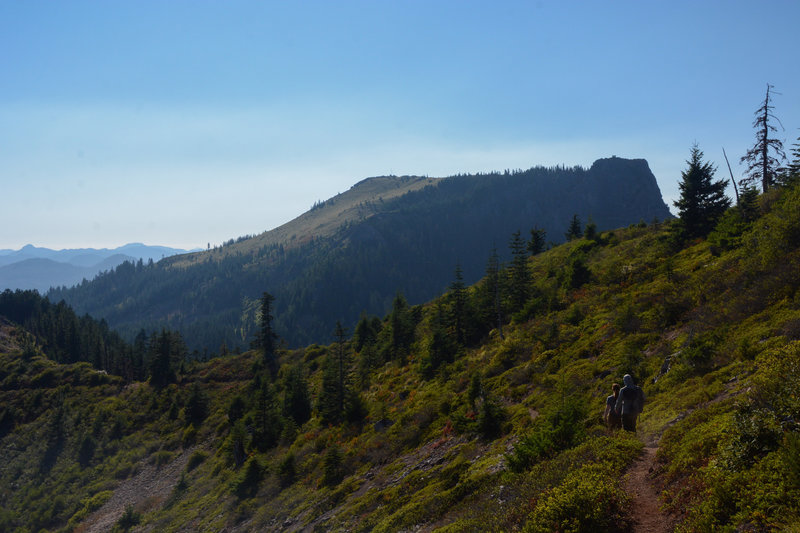 Coffin Mountain and it's fire tower as seen while descending Bachelor Mountain Trail.