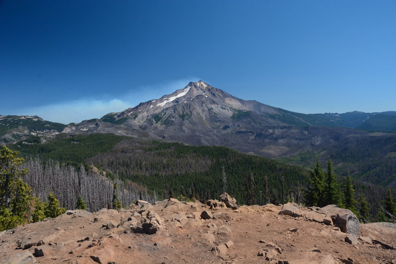 Mount Jefferson from the summit of Triangulation Peak with the fire form the 2020 Lionshead fire behind.