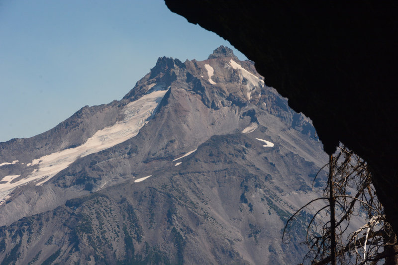 Mount Jefferson past the mouth of Boca Cave.