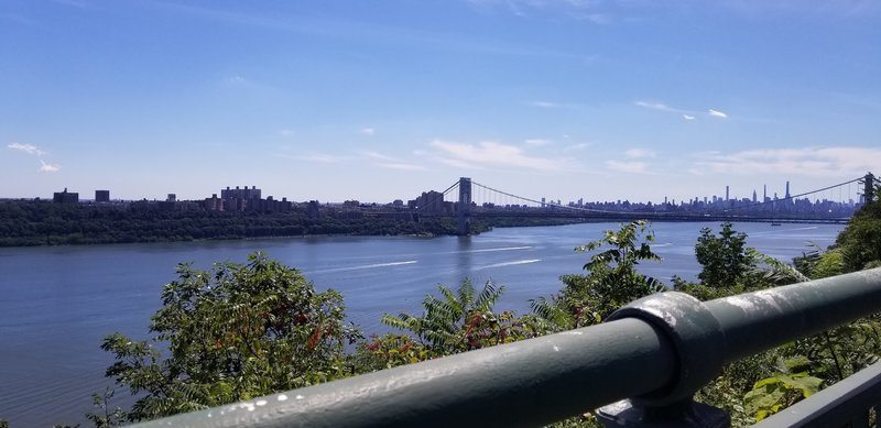 Far few of the GWB and Hudson River from the height of the trail.