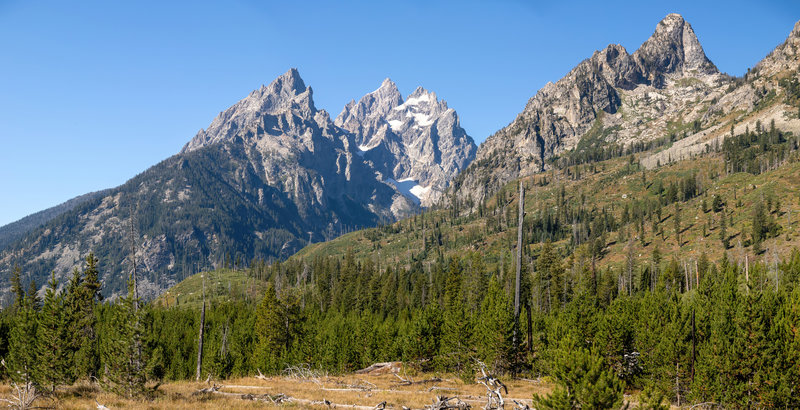 Remnants of snow below Grand Teton can been seen from the Jenny Lake Trail.